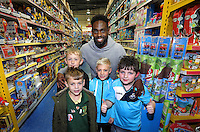 Pictured: Nathan Dyer Wednesday 08 December 2016<br />Re: Swansea City FC players have bought Christmas gifts for 60 children at Smyths toy store in Swansea, south Wales.