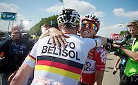stage winner André Greipel (DEU/Lotto-Belisol) hugs teammate Kris Boeckmans (BEL/Lotto-Belisol) after the finish line<br /> <br /> 2014 Belgium Tour<br /> stage 4: Lacs de l'Eau d'Heure - Lacs de l'Eau d'Heure (178km)