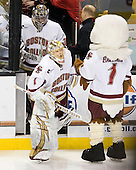 Chris Venti (BC - 30), John Muse (BC - 1), Baldwin - The Boston College Eagles defeated the Boston University Terriers 3-2 (OT) in their Beanpot opener on Monday, February 7, 2011, at TD Garden in Boston, Massachusetts.