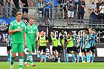 05.08.2019, Carl-Benz-Stadion, Mannheim, GER, 3. Liga, SV Waldhof Mannheim vs. TSV 1860 Muenchen, <br /> <br /> DFL REGULATIONS PROHIBIT ANY USE OF PHOTOGRAPHS AS IMAGE SEQUENCES AND/OR QUASI-VIDEO.<br /> <br /> im Bild: Jubel ueber das Tor zum 2:0 durch Gianluca Korte (SV Waldhof Mannheim #17)<br /> <br /> Foto © nordphoto / Fabisch
