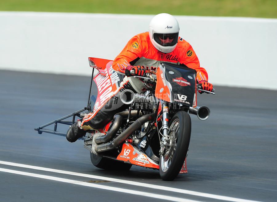 Jun. 18, 2011; Bristol, TN, USA: NHRA top fuel harley motorcycle rider Mike Lehman during qualifying for the Thunder Valley Nationals at Bristol Dragway. Mandatory Credit: Mark J. Rebilas-