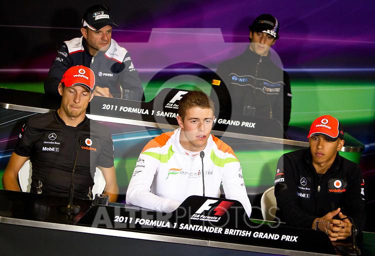 07.07.2011, Silverstone Circuit, Silverstone, GBR, F1, Großer Preis von Großbritannien, Silverstone, im Bild obere Reihe: Rubens Barrichello (BRA), AT&T Williams, Daniel Ricciardo (AUS), HRT F1 Team; untere Reihe: Jenson Button (GBR), McLaren-Mercedes, Paul di Resta, (GBR), Force India F1 Team, Lewis Hamilton (GBR), McLaren-Mercedes // during the Formula One Championships 2011 British Grand Prix held at the Silverstone Circuit, Northamptonshire, United Kingdom, 2011-07-07, EXPA Pictures © 2011, PhotoCredit: EXPA/ J. Feichter