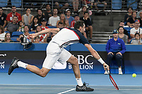 8th January 2020; Sydney Olympic Park Tennis Centre, Sydney, New South Wales, Australia; ATP Cup Australia, Sydney, Day 6; Croatia versus Argentina; Marin Cilic of Croatia versus Guido Pella of Argentina; Marin Cilic of Croatia reaches for a volley against Guido Pella of Argentina - Editorial Use