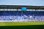 magdeburg fans, fahnen, choreo, fahnentag, block u, fanblock beim Spiel in der 3. Liga, 1. FC Magdeburg - Karlsruher SC.<br /> <br /> Foto &copy; PIX-Sportfotos *** Foto ist honorarpflichtig! *** Auf Anfrage in hoeherer Qualitaet/Aufloesung. Belegexemplar erbeten. Veroeffentlichung ausschliesslich fuer journalistisch-publizistische Zwecke. For editorial use only.