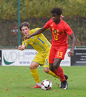 20190927 - WOLVERTEM , BELGIUM : Belgian Richie Sagrado Sebastiao (R) and Ukraine's Andrii Buleza (L) pictured during the friendly  soccer match between  under 16 teams of  Belgium and Ukraine , in Wolvertem , Belgium . Thursday 26 th September 2019 . PHOTO SPORTPIX.BE / DIRK VUYLSTEKE