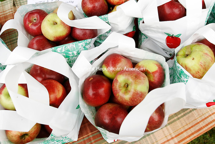 MIDDLEBURY, CT, 09/28/08- 092808BZ03- Bags of apples for sale at the St. John of the Cross Apple Harvest festival Sunday afternoon.<br /> Jamison C. Bazinet Republican-American