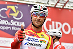 Race leader Manuel Belletti (ITA) Androni Giocattoli-Sidermec at sign on before the start of Stage 3 of Il Giro di Sicilia running 186km from Caltanissetta to Ragusa, Italy. 5th April 2019.<br /> Picture: LaPresse/Fabio Ferrari | Cyclefile<br /> <br /> <br /> All photos usage must carry mandatory copyright credit (&copy; Cyclefile | LaPresse/Fabio Ferrari)