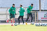 12.03.2020, Trainingsgelaende am wohninvest WESERSTADION,, Bremen, GER, 1.FBL, Werder Bremen Training, im Bild<br /> <br /> Milot Rashica (Werder Bremen #07)<br /> Davie Selke (Neuzugang SV Werder Bremen #09)<br /> Philipp Bargfrede (Werder Bremen #44)<br /> <br /> Foto © nordphoto / Kokenge