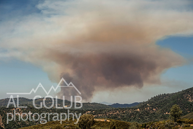 View from Greeley Hill Road of the Flat Fire started on Highway 49 near Moccasin and burned up hill toward Priest Dam. Photo by Al Golub