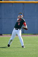 Eddie Leon during the Under Armour All-America Pre-Season Tournament, powered by Baseball Factory, on January 19, 2019 at Sloan Park in Mesa, Arizona.  Eddie Leon is an outfielder from Miami, Florida who attends Christopher Columbus High School.  (Mike Janes/Four Seam Images)