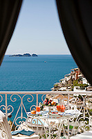 View of the island of the Sirens off the Napolitan coast from the balcony of La Sirenuse hotel in Positano