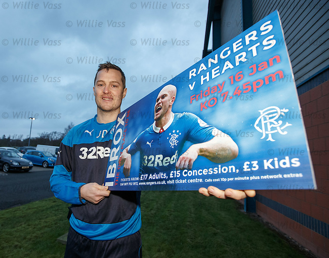 Jon Daly promoting ticket sales for the Hearts match on Friday night