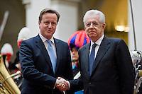 Roma, 12 Novembre, 2012. Il Primo Ministro Inglese David Cameron incontra Mario Monti a Palazzo Chigi