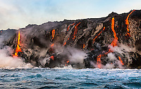 On the 30th anniversary of Kilauea's eruption, lava enters the ocean from different locations along the border of Hawai'i Volcanoes National Park on the Big Island.