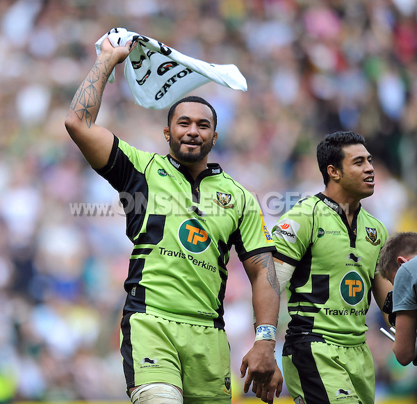 Samu Manoa celebrates at the final whistle. Aviva Premiership Final, between Saracens and Northampton Saints on May 31, 2014 at Twickenham Stadium in London, England. Photo by: Patrick Khachfe / JMP