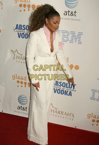 JANET JACKSON .19th Annual Glaad Media Awards held at the Kodak Theatre, Hollywood, California, USA, 26 April 2008..full length pink white striped shirt collar cream jacket cleavage hanky trousers trouser suit.CAP/ADM/RE.©Russ Elliot/Admedia/Capital PIctures