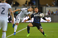 San Jose, CA - Saturday, March 11, 2017: Fredy Montero, Nick Lima during a Major League Soccer (MLS) match between the San Jose Earthquakes and the Vancouver Whitecaps FC at Avaya Stadium.