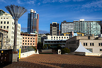 Civic Square at 8.30am in Wellington CBD during quarantine lockdown for COVID19 pandemic in Wellington, New Zealand on Monday, 6 April 2020. Photo: Dave Lintott / lintottphoto.co.nz