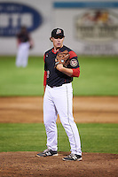 Batavia Muckdogs relief pitcher Ryley MacEachern (40) looks in for the sign during a game against the State College Spikes on June 23, 2016 at Dwyer Stadium in Batavia, New York.  State College defeated Batavia 8-4.  (Mike Janes/Four Seam Images)