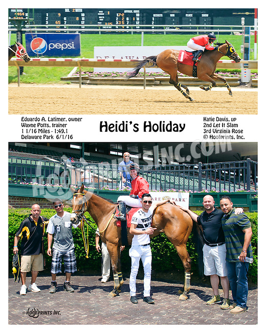 Heidi's Holiday winning at Delaware Park on 6/1/16