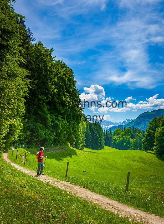 Deutschland, Bayern, Chiemgau, bei Schleching: Wandern auf der Petereralm, im Hintergrund das oesterreichische Kaisergebirge | Germany, Bavaria, Chiemgau, near Schleching: hiking at Peterer Alm, at background Austrian Kaiser mountains