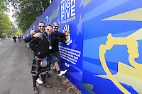 High five your team on the way into the course during Tartan Tuesday's Practice day of the Ryder Cup 2014 played on the PGA Centenary Course at the Gleneagles Hotel, Auchterarder, Scotland.: Picture Eoin Clarke, www.golffile.ie: 23rd September 2014