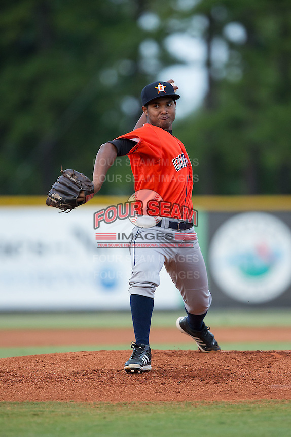 Greeneville Astros starting pitcher Carlos Hiraldo (15) in action against the Burlington Royals at Burlington Athletic Park on August 29, 2015 in Burlington, North Carolina.  The Royals defeated the Astros 3-1. (Brian Westerholt/Four Seam Images)