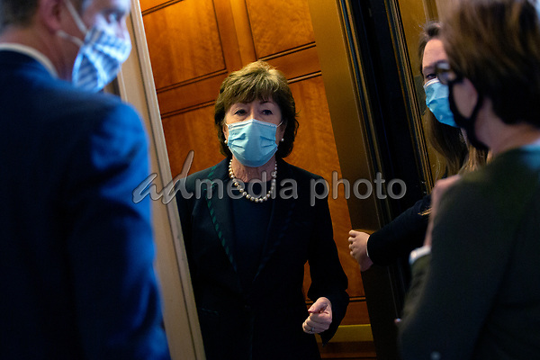 United States Senator Susan Collins (Republican of Maine) speaks to members of the media as she leaves the United States Capitol in Washington D.C., U.S. on Thursday, May 21, 2020. Credit: Stefani Reynolds / CNP/AdMedia