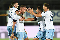 24th June 2020, Bergamo, Italy; Seria A football league, Atalanta versus Lazio; Sergej Milinkovic Savic celebrates his goal for Lazio for 0-2 in the 11th minute