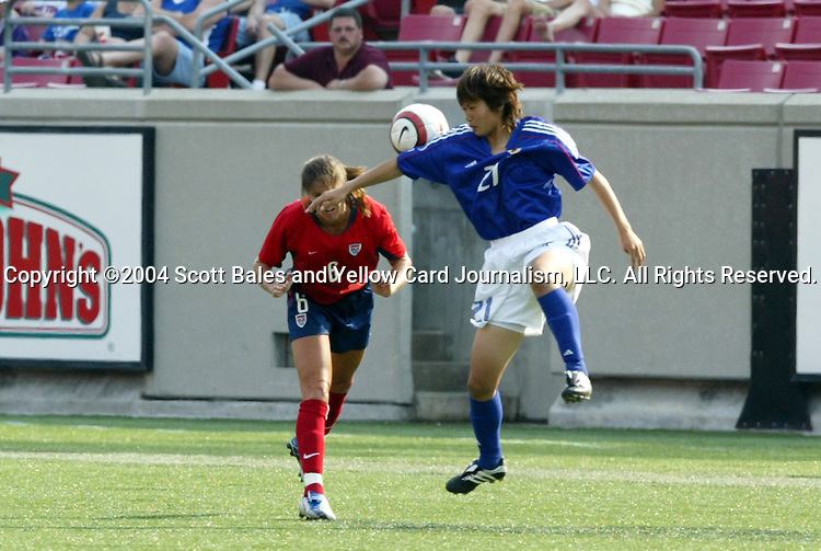 6 June 2004: Brandi Chastain (6) and Ayako Kitamoto (21). The United States tied Japan 1-1 at Papa John's Cardinal Stadium in Louisville, KY in an international friendly soccer game..