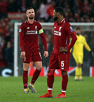 Liverpool's Jordan Henderson (left) and Georginio Wijnaldum look dejected as the game draws to a close<br /> <br /> Photographer Rich Linley/CameraSport<br /> <br /> UEFA Champions League Round of 16 First Leg - Liverpool and Bayern Munich - Tuesday 19th February 2019 - Anfield - Liverpool<br />  <br /> World Copyright © 2018 CameraSport. All rights reserved. 43 Linden Ave. Countesthorpe. Leicester. England. LE8 5PG - Tel: +44 (0) 116 277 4147 - admin@camerasport.com - www.camerasport.com