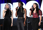 "Yvette Gonzalez-Nacer, Jewelle Blackman and Kay Trinadad from ""Hadestown"" during the BroadwayCON 2020 First Look at the New York Hilton Midtown Hotel on January 24, 2020 in New York City."