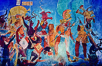 Painting of maya priests and warriors on the inside of a roof on top of a pyramid in mexico foto, reise, photograph, image, images, photo,<br />