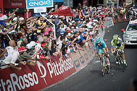 Alberto Contador (ESP/Tinkoff-Saxo) tails Fabio Aru (ITA/Astana) with only 200m to go and the maglia rosa in the balance<br /> <br /> 2015 Giro<br /> stage 5: La Spezia - Abetone (152km)