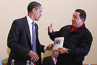 President of Venezuela Hugo Chavez presents US President Barak Obama with a copy of the book The Open Veins of Latin America by Uruguay writer Eduardo Galeano during the America's Summit in Trinidad and Tobago. The book is critic about US imperialist policies in Latin America during XX Century.