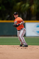 Baltimore Orioles Cadyn Grenier (30) throws to first base during a Minor League Spring Training game against the Boston Red Sox on March 20, 2019 at the Buck O'Neil Baseball Complex in Sarasota, Florida.  (Mike Janes/Four Seam Images)