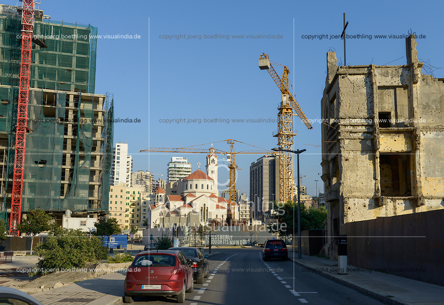 LEBANON, Beirut, war ruins , destroyed church and new church / LIBANON, Beirut, im Krieg zerstoerte Gebaeude
