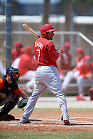 St. Louis Cardinals Rayder Ascanio (7) during a Minor League Spring Training game against the Miami Marlins on March 26, 2018 at the Roger Dean Stadium Complex in Jupiter, Florida.  (Mike Janes/Four Seam Images)