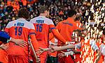 ROTTERDAM -  Opkomst van Oranje , met oa Mirco Pruijser (NED) en Bob de Voogd (NED)     voor  de Pro League hockeywedstrijd heren, Nederland-Spanje (4-0) . COPYRIGHT KOEN SUYK