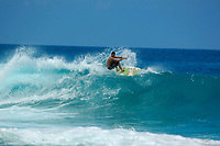 longboard surfer Jeff Sylva during large surf at Magic sands beach Kailua Kona The Big Island of Hawaii