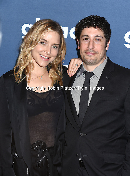 Jason Biggs and wife Jenny Mollen attend the 27th Annual GLAAD Media Awards on May 14, 2016 at the Waldorf Astoria Hotel in New York City, New York, USA.<br /> <br /> photo by Robin Platzer/Twin Images<br />  <br /> phone number 212-935-0770