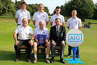 Kinsale winners of the AIG Barton Shield Munster Final 2018 at Thurles Golf Club, Thurles, Co. Tipperary on Sunday 19th August 2018.<br /> Picture:  Thos Caffrey / www.golffile.ie<br /> <br /> Back Row: Eric Rumley, Gary Ward, Keith Fitzpatrick and Cathal Butler.<br /> <br /> Front Row: Brendan McKenna (Sponsor: AIG), Ger Cullinane (Team Captain) and Jim Long (Chairman Munster Golf).<br /> <br /> All photo usage must carry mandatory copyright credit (&copy; Golffile | Thos Caffrey)