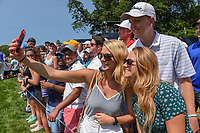 Avid golf fans take a selfie as Tiger Woods (USA) approaches the green on 8 during 3rd round of the 100th PGA Championship at Bellerive Country Club, St. Louis, Missouri. 8/11/2018.<br /> Picture: Golffile | Ken Murray<br /> <br /> All photo usage must carry mandatory copyright credit (&copy; Golffile | Ken Murray)