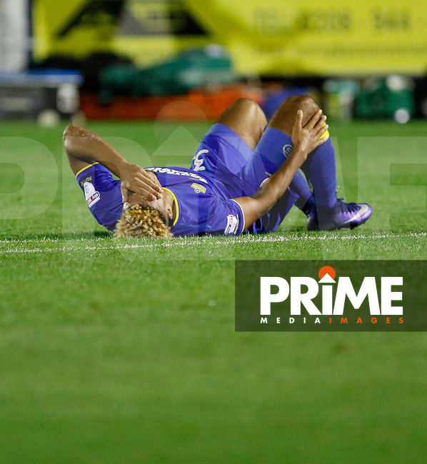 AFC Wimbledon's Lyle Taylor is down and in pain during the Carabao Cup match between AFC Wimbledon and Brentford at the Cherry Red Records Stadium, Kingston, England on 8 August 2017. Photo by Carlton Myrie.