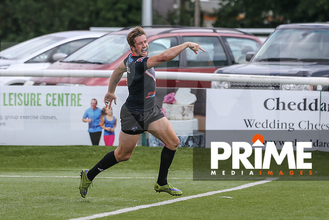 Ben Hellewell of London Broncos celebrates after he scores his 3rd (hat trick) try of the game during the Kingstone Press Championship match between London Broncos and Sheffield Eagles at Castle Bar , West Ealing , England  on 9 July 2017. Photo by David Horn.