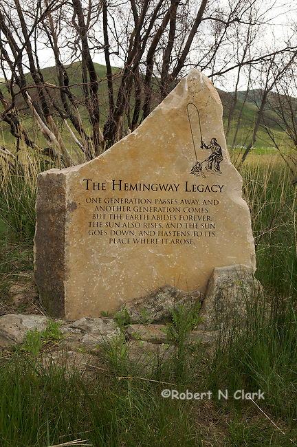 The Hemingway Memorial on Silver Creek in the Silver Creek Preserve.  Jack Hemingway, the eldest son of Ernest Hemingway, was responsible for getting the Nature Conservancy involved and preserving the great trout fishing we have today.