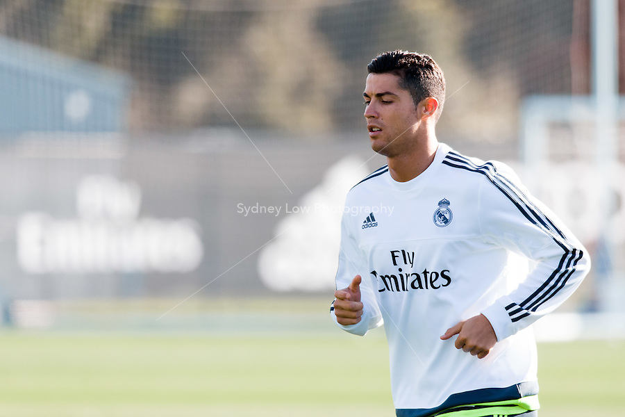 Melbourne, 16 July 2015 - Cristiano Ronaldo of Real Madrid at a training session at the Melbourne City Football Academy training ground before their match against AS Roma on 18 July at the 2015 International Champions Cup in Melbourne, Australia. Photo Sydney Low/AsteriskImages.com