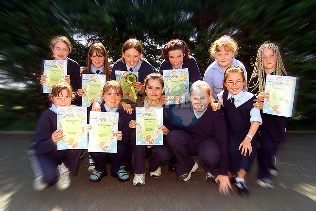Duleek Girls National School pupils who were prizewinners in the Write a Book Project. Back Row L/R, Melissa Shanley, Sarah Myles, Maeve Hilliard, Josephine Carroll, Aoife Tiernan and Stacey Murray. Front Row L/R, Vicky Martin, Georgina Halpenny, Nikita Owens, Siona Keogh and Amy O'Dowd..Picture: Paul Mohan/Newsfile