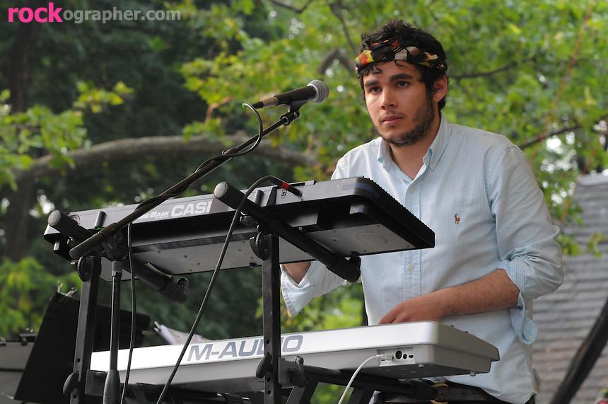 Keyboardist Rastam Batmangli of Brooklyn NY based indie alt rockers Vampire Weekend performs at Summer Stage in Central Park NYC ( June 14, 2008)