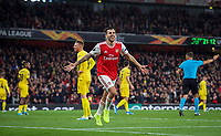 Dani Ceballos (on loan from Real Madrid) of Arsenal celebrates his goal during the UEFA Europa League match between Arsenal and Standard Liege at the Emirates Stadium, London, England on 3 October 2019. Photo by Andrew Aleks.